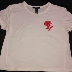 Forever 21 cropped rose shirt